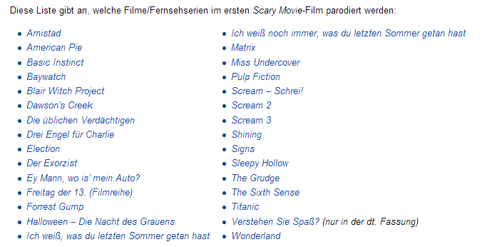 Scary Movie 1 Verarschungen