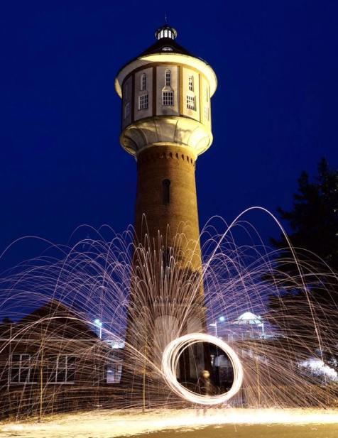 Wasserturm Lingen Stahlwolle Langzeitaufnahme